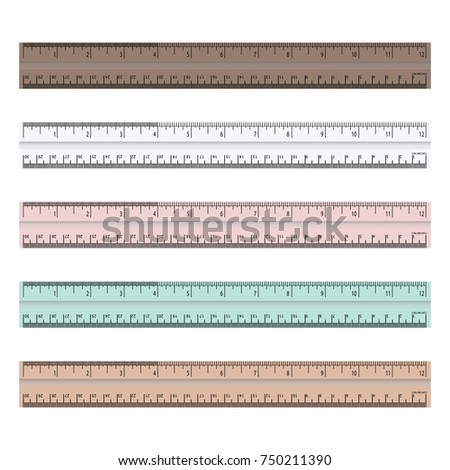 colorful rulers, millimeters, centimeters and inches, Ruler flat icon vector illustration