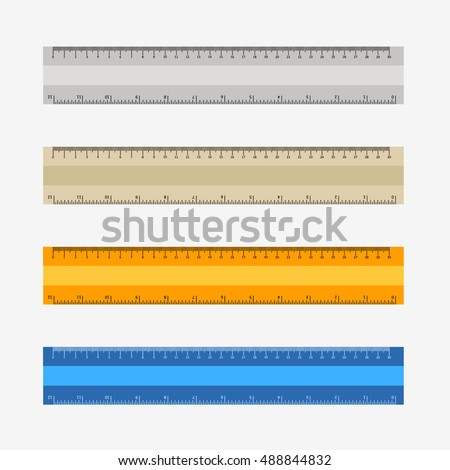 Colorful rulers, millimeters, centimeters and inches. Ruler flat icon vector illustration. Rulers set. Rulers icon. Ruler vector. yellow ruler. white ruler. blue ruler. grey ruler. Four rulers. Rulers