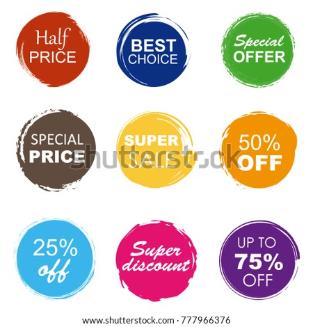 Colorful sale tags in grunge style. Super sale, special offer, special price, best choice. #777966376
