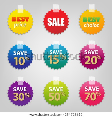 colorful sale tags set  vector