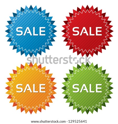 Colorful sale tags with texture collection (vector). Icons set. Sale labels illustration (blue, green, red, orange).