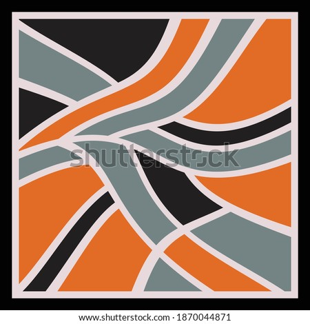 Colorful scarf pattern design. Geometric ornament with frame, border. Bandanna, shawl, scarf, tablecloth design for textile fabric print Photo stock ©