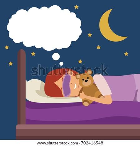 colorful scene girl with sleep
