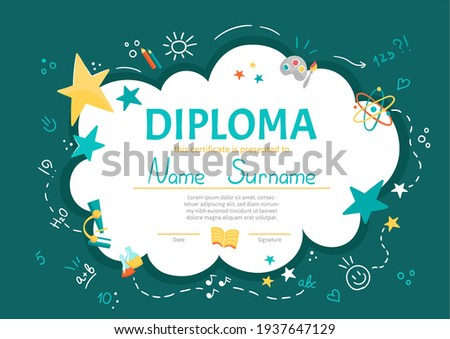 Colorful school and preschool diploma certificate for kids and children in kindergarten or primary grades with school pack, kit on green chalkboard background. Vector cartoon flat illustration