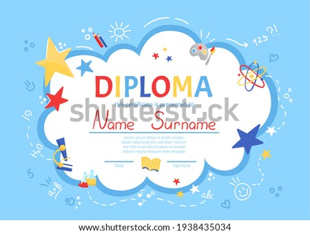 Colorful school and preschool diploma certificate for kids and children in kindergarten or primary grades with doodle elements on blue background. Vector cartoon flat illustration