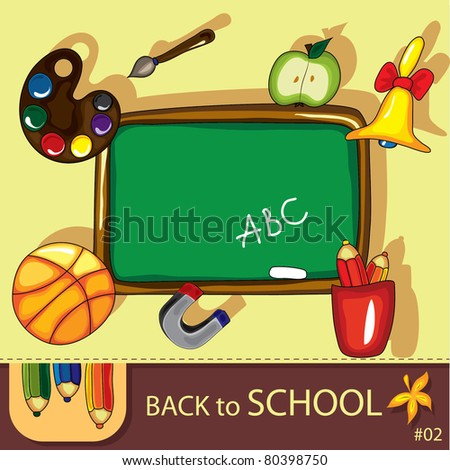Colorful school background with cute school design elements and  space for your text. Series  # 2 - stock vector