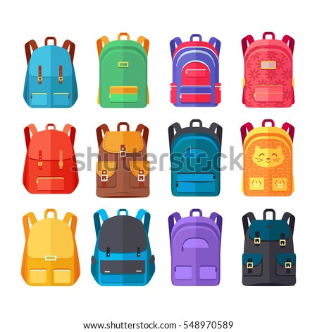 Colorful school backpacks icons set, Variety bright backpacks for schoolchildren, students, travelers and tourists flat vector illustrations isolated on white. Fashionable bags for kids and adults