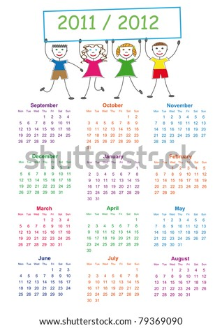 Colorful school calendar on new year school from 2011 to 2012 year