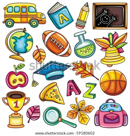 Colorful school icons - stock vector