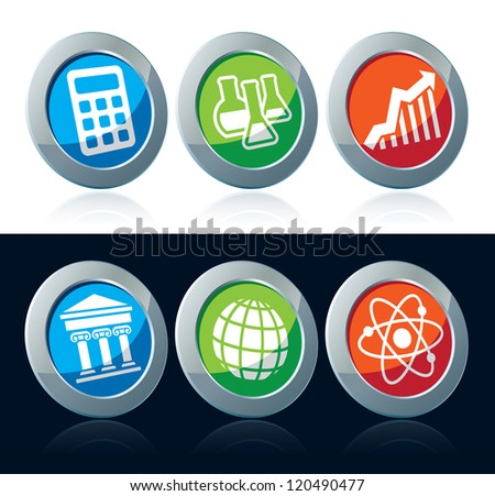 Colorful scientific icons set over white and black background