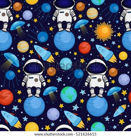 colorful seamless cartoon space