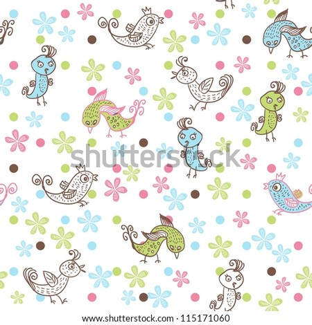colorful seamless child pattern with birds