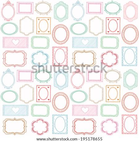 Colorful seamless doodle frame set