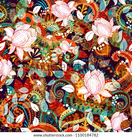 Colorful seamless floral pattern. Decorative nature motif with magnolias