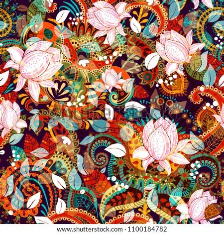 Colorful seamless floral pattern. Decorative nature motif wiyh rose magnolies