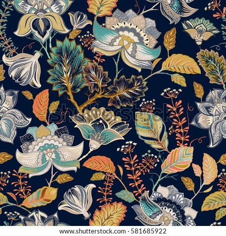 Colorful seamless pattern. Floral background. Flowers wallpaper. Stylized flowers, plants on the dark background. Drawn decorative flowers pattern. Design for home decor, fabric, carpet, wrapping