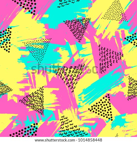 Colorful seamless pattern from triangles on the bright brush strokes background. 80's - 90's years design style. Trendy. Vector illustration
