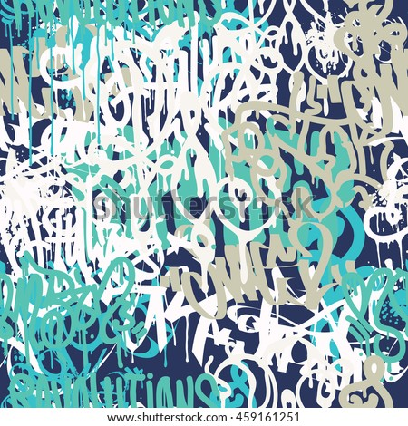 Shutterstock Colorful seamless pattern. Graffiti hand style old school doodles street art illustration. Composition with tags, signs, elements for skate board, clothing streetwear wallpapers textile fabric