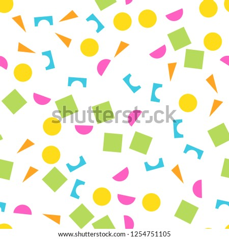 Colorful seamless pattern of building kit simple geometric shapes. Happy, funny and infantile theme. Abstract vector background. Stockfoto ©