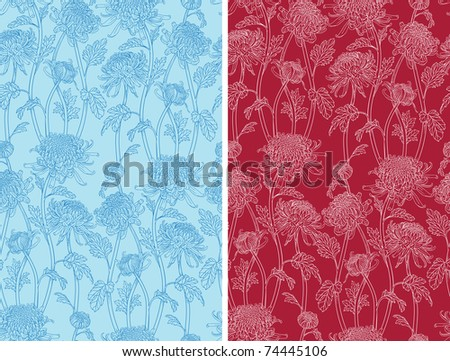 colorful seamless pattern of chrysanthemum flowers. Cool for backgrounds. Simple color change in eps file format.