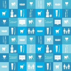 Colorful seamless pattern with dental instruments and teeth. Hand drawn icons collection, medical set. Design background with flat icon, dental tools vector. Decorative illustration, good for printing