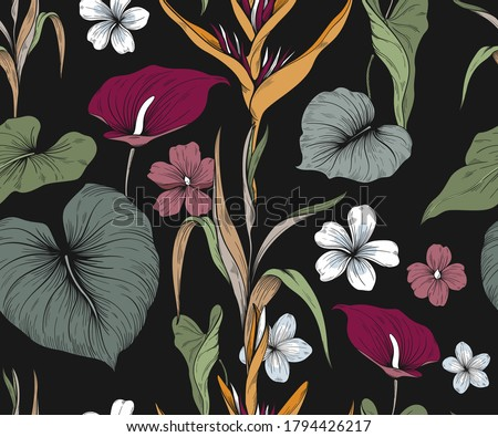 Colorful seamless pattern with exotic flowers and leaves. Dark background  Foto d'archivio ©