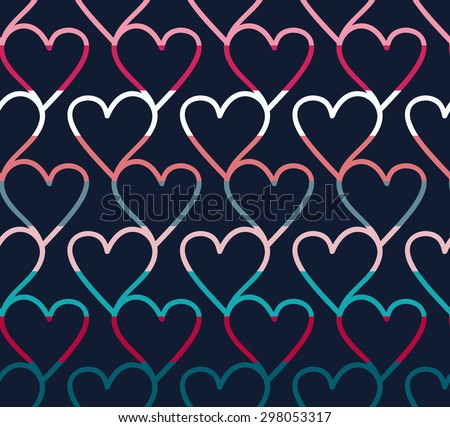 Vector Love Pattern With Hearts And Stripes Download Free