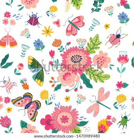 Colorful seamless pattern with insects and flowers. Summer floral repeat background for fabrics or wallpapers. Butterfly and dragonflies design.