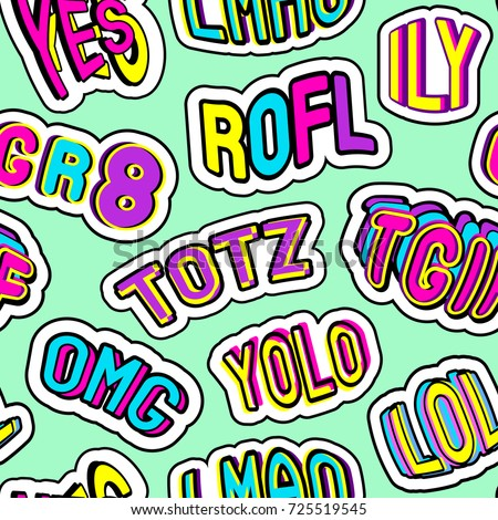 Colorful seamless pattern with patches, stickers with words
