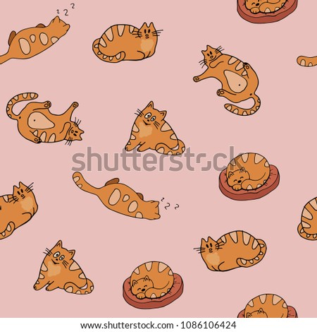 Colorful seamless pattern with stylized funny red cats, sketches hand drawing, vector illustration