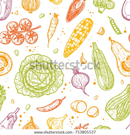 Colorful seamless pattern with vegatables. Ink hand drawn vector illustration. Can be used for wrapping paper, street festival, farmers market, country fair, shop, menu, cafe, restaurant