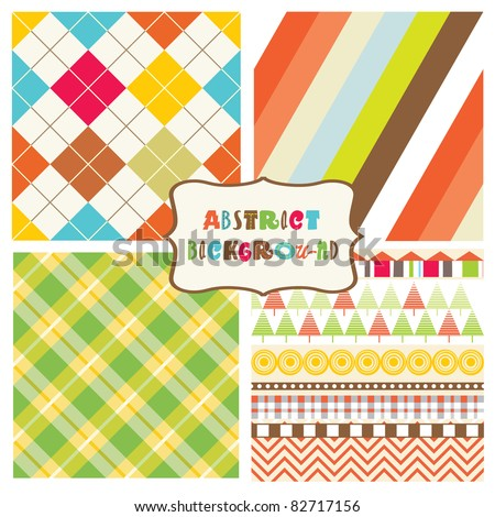 colorful seamless patterns with fabric texture - stock vector