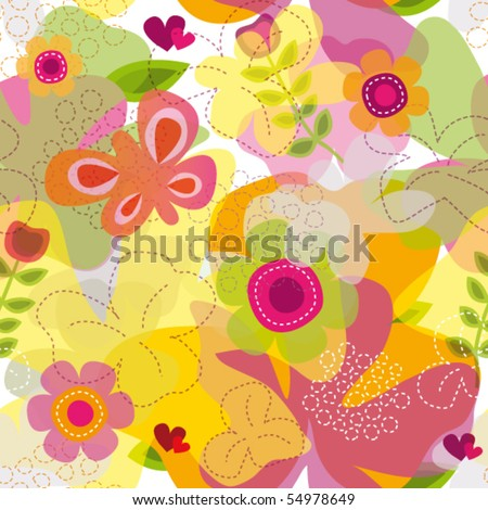 Colorful seamless summer butterfly flower pattern in vector