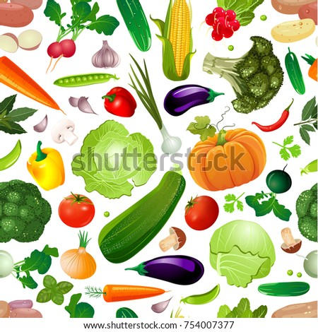 colorful seamless texture with fresh vegetables for your design #754007377