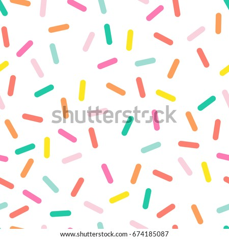 Colorful seamless vector confetti pattern.  Bakery themed donut, doughnut or cupcake sugar sprinkle background.