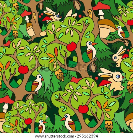 Colorful seamless vector pattern. Forest design, background with forest animals and birds in childish style.