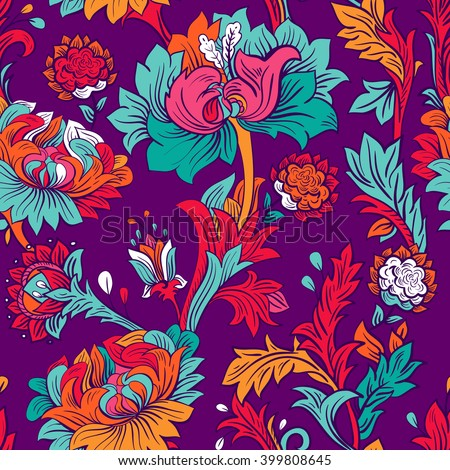 Colorful seamless wallpaper. Flowers pattern. Floral backdrop