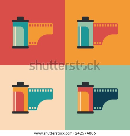 colorful set of camera film