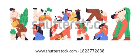 Colorful set of daydreaming or relaxing people. Scene of recreation or relaxation at home. Characters sitting, lying, reading. Vector illustration in flat cartoon geometrical style isolated on white Stock photo ©