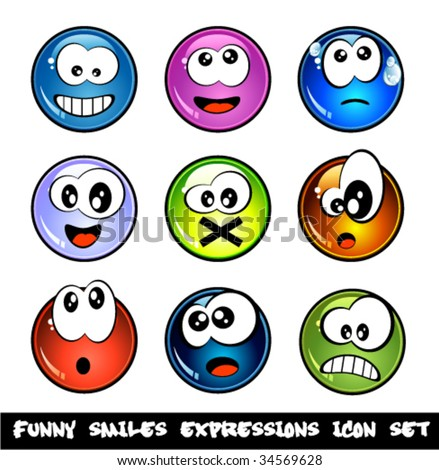colorful set of funny smiles
