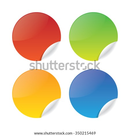 Colorful Set of Glossy Round Promotional Sticker Labels #350215469