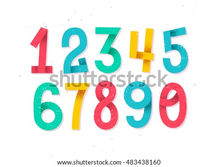 Colorful set of hand drawn numbers isolated on white, folded paper numbers for your designs