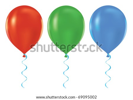Colorful set of helium balloons 3D vector illustration