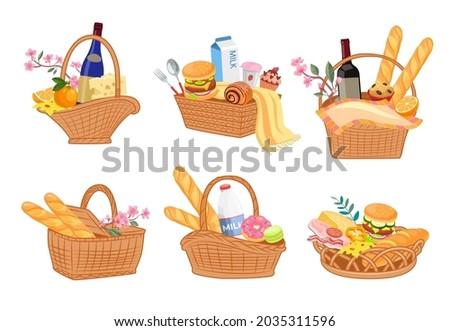 colorful set of picnic baskets