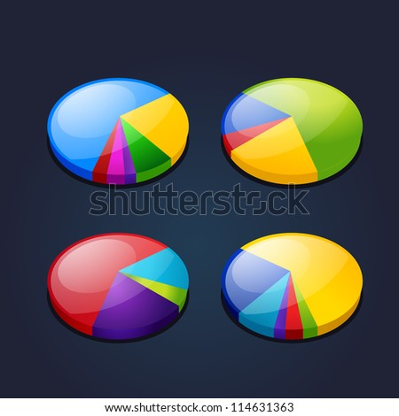 colorful set of pie graphic chart