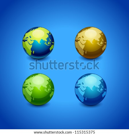 colorful set of planet earth icon isolated on background