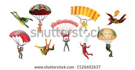 colorful set of skydivers