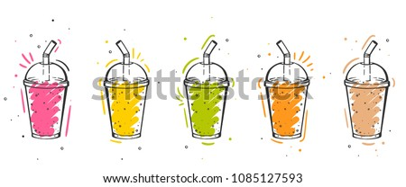 Colorful Set of smoothies. Superfoods and health or detox diet food concept in sketch style.