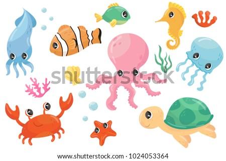 colorful set of various sea