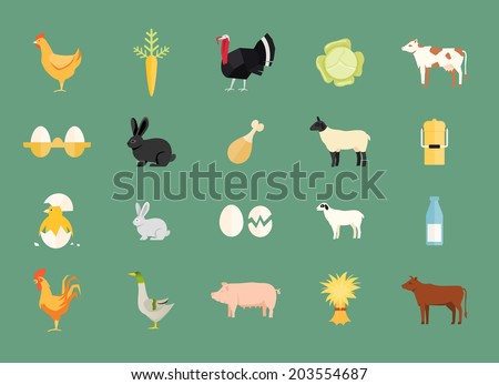 Colorful set of vector farm animals and produce with hen and egg  carrot  turkey  cabbage  dairy and beef cows  rabbit  sheep  milk can  duck  pig  hay chicken  rooster and goat